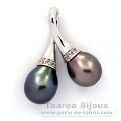 Rhodiated Sterling Silver Pendant and 2 Tahitian Pearls Semi-Baroque B 9.5 and 9.6 mm