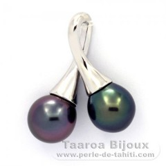 Rhodiated Sterling Silver Pendant and 2 Tahitian Pearls Semi-Baroque B+ 9.5 and 9.6 mm