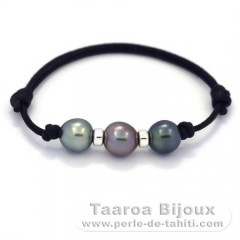 Waxed Cotton Bracelet and 3 Tahitian Pearls Semi-Baroque C  9.2 to 9.3 mm