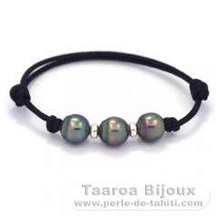 Waxed Cotton Bracelet and 3 Tahitian Pearls Semi-Baroque B  8.6 to 8.7 mm