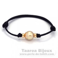 Waxed Cotton Bracelet and 1 Australian Pearl Semi-Baroque B 10.3 mm