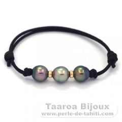 Waxed Cotton Bracelet and 3 Tahitian Pearls Semi-Baroque B 8.8 mm