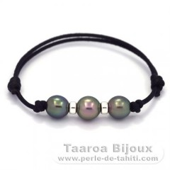Waxed Cotton Bracelet and 3 Tahitian Pearls Semi-Baroque C  9 to 9.2 mm