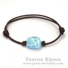 Cotton Bracelet and 1 Larimar - 14 x 14 x 8.6 mm - 2.8 gr