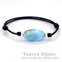 Cotton Bracelet and 1 Larimar - 22.5 x 13 x 8.6 mm - 4.5 gr