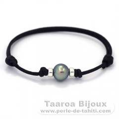 Waxed Cotton Bracelet and 1 Tahitian Pearl Semi-Baroque C 9.2 mm