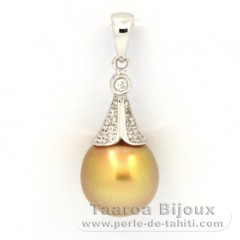 Rhodiated Sterling Silver Pendant and 1 Tahitian Pearl Semi-Baroque C 10 mm