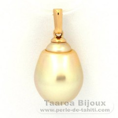 18K solid Gold Pendant and 1 Tahitian Pearl Baroque B 10.5 mm