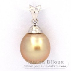 Rhodiated Sterling Silver Pendant and 1 Australian Pearl Semi-Baroque B 11 mm