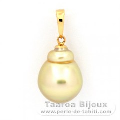 18K solid Gold Pendant and 1 Tahitian Pearl Baroque B 10.7 mm