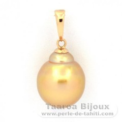 18K solid Gold Pendant and 1 Tahitian Pearl Baroque B 10.2 mm