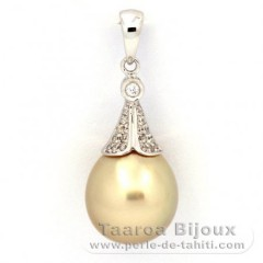 Rhodiated Sterling Silver Pendant and 1 Australian Pearl Semi-Baroque C 10.9 mm