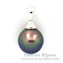 Rhodiated Sterling Silver Pendant and 1 Tahitian Pearl Ringed C 9.6 mm