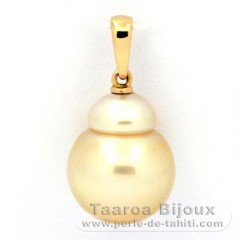 18K solid Gold Pendant and 1 Australian Pearl Baroque B 12 mm