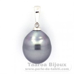 Rhodiated Sterling Silver Pendant and 1 Tahitian Pearl Ringed B 11.3 mm