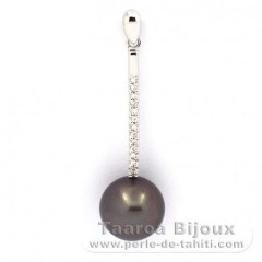 Rhodiated Sterling Silver Pendant and 1 Tahitian Pearl Round C 10.6 mm