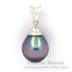 Rhodiated Sterling Silver Pendant and 1 Tahitian Pearl Ringed B 9.6 mm