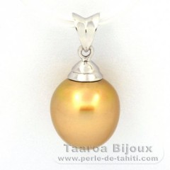 Rhodiated Sterling Silver Pendant and 1 Australian Pearl Semi-Baroque C 10.7 mm