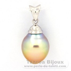 Rhodiated Sterling Silver Pendant and 1 Australian Pearl Semi-Baroque B 10 mm