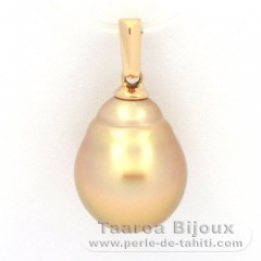 18K solid Gold Pendant and 1 Australian Pearl Semi-Baroque B 10.3 mm