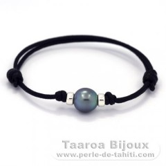 Waxed Cotton Bracelet and 1 Tahitian Pearl Semi-Baroque C+ 9.2 mm