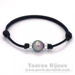 Waxed Cotton Bracelet and 1 Tahitian Pearl Semi-Baroque C 9.1 mm