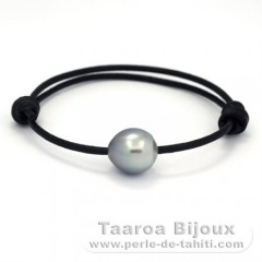 Leather Bracelet and 1 Tahitian Pearl Semi-Baroque C 12.7 mm