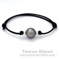 Waxed Cotton Bracelet and 1 Tahitian Pearl Round C 12.2 mm