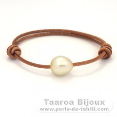 Leather Bracelet and 1 Australian Pearl Semi-Baroque C 11.5 mm