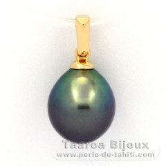 18K solid Gold Pendant and 1 Tahitian Pearl Semi-Baroque B 9.5 mm