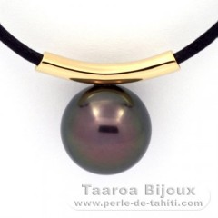 18K solid Gold Pendant and 1 Tahitian Pearl Round C 12.5 mm