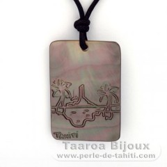 Mother-of-Pearl Pendant and Cotton Necklace