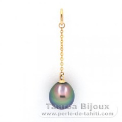 18K solid Gold Pendant and 1 Tahitian Pearl Semi-Baroque B+ 8.9 mm