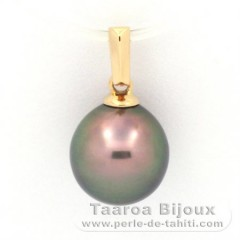 18K solid Gold Pendant and 1 Tahitian Pearl Semi-Baroque B 9.1 mm