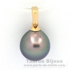 18K solid Gold Pendant and 1 Tahitian Pearl Semi-Baroque B 9.4 mm