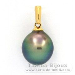18K solid Gold Pendant and 1 Tahitian Pearl Semi-Baroque C 9.5 mm