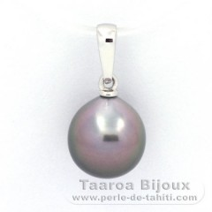 18K Solid White Gold Pendant and 1 Tahitian Pearl Semi-Baroque A 9.5 mm
