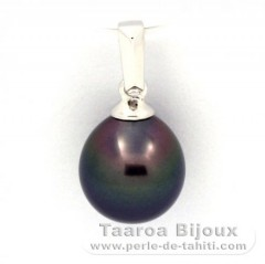 18K Solid White Gold Pendant and 1 Tahitian Pearl Semi-Baroque B 8.3 mm