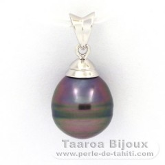 Rhodiated Sterling Silver Pendant and 1 Tahitian Pearl Ringed C 9.9 mm