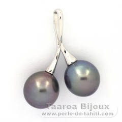 Rhodiated Sterling Silver Pendant and 2 Tahitian Pearls Semi-Baroque C 10.1 and 10.3 mm