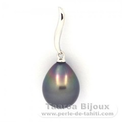 18K Solid White Gold Pendant and 1 Tahitian Pearl Semi-Baroque A 9.7 mm
