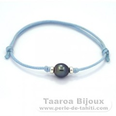 Waxed Cotton Bracelet and 1 Tahitian Pearl Semi-Baroque B 8.2 mm