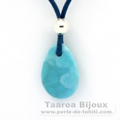Cotton Necklace, Rhodiated Sterling Silver and 1 Larimar - 19.5 x 13 x 4.8 mm - 2.1 gr