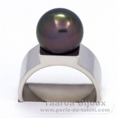 Rhodiated Sterling Silver Ring and 1 Tahitian Pearl Round B 10.8 mm
