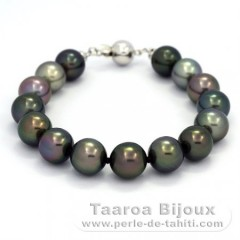 Bracelet with 15 Tahitian Pearls Near-Round C  9.5 to 9.8 mm and Rhodiated Sterling Silver
