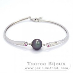Rhodiated Sterling Silver Bracelet and 1 Tahitian Pearl Round B 9.7 mm