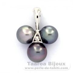 Rhodiated Sterling Silver Pendant and 3 Tahitian Pearls Near-Round C  9 to 9.6 mm