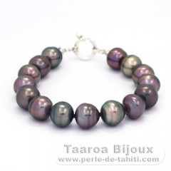 Bracelet with 15 Tahitian Pearls Ringed B 11 to 11.2 mm and Rhodiated Sterling Silver