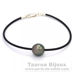 Rubber, Sterling Silver Bracelet and 1 Tahitian Pearl Semi-Baroque C 10.8 mm