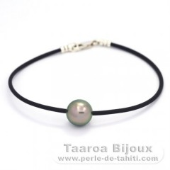 Rubber, Sterling Silver Bracelet and 1 Tahitian Pearl Round C 10.8 mm